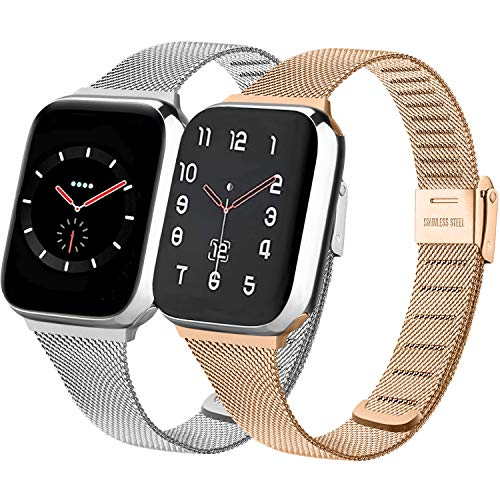 PACK 2 Metal Band Compatible with Apple Watch 38mm 40mm 42mm 44mm,Stainless Steel Mesh Loop with Adjustable Magnetic Closure Bands Compatible for iWatch Series 5/4/3/2/1 (silver+rose gold,38mm/40mm)