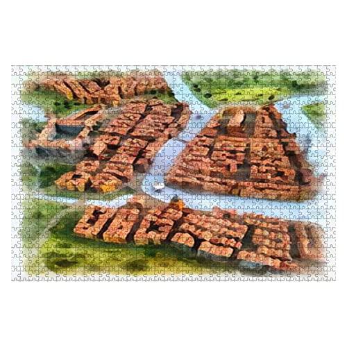 1000 bit en sagostad med slott och en vattenfärg med flodritning på papper Stora pussel för vuxna pedagogisk leksak för barn Kreativa spel Underhållning träpussel heminredning