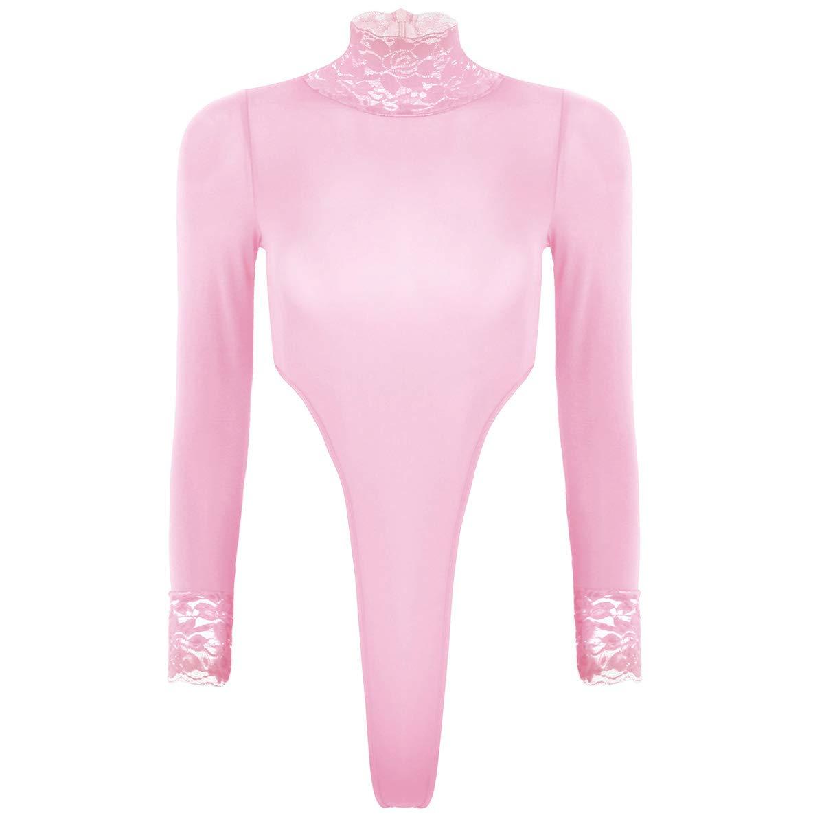 T-Shirts Tops Manche Longue Femme Sexy Body String Dentelle Transparent Lingerie Nuit Thong Bodysuit Gym sous-vêtements Soirée Club Maillot de Bain 1 Pièce Taille Haute