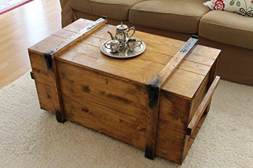 Uncle Joe´s Truhe Couchtisch Truhentisch im Vintage Shabby chic Style aus Massiv-Holz in braun mit Stauraum und Deckel Holzkiste Beistelltisch Landhaus Wohnzimmertisch Holztisch