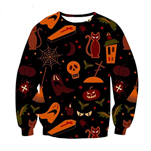 Moent Frauen Halloween 3D Druck Party Langarm Pullover O-Neck Sweatshirt Gr. XXX-Large, Schwarz