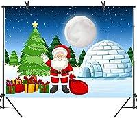 新しい250×180cmサンタクロースの背景月光ナイトギフトクリスマスツリー雪城写真背景写真小道具DSST095