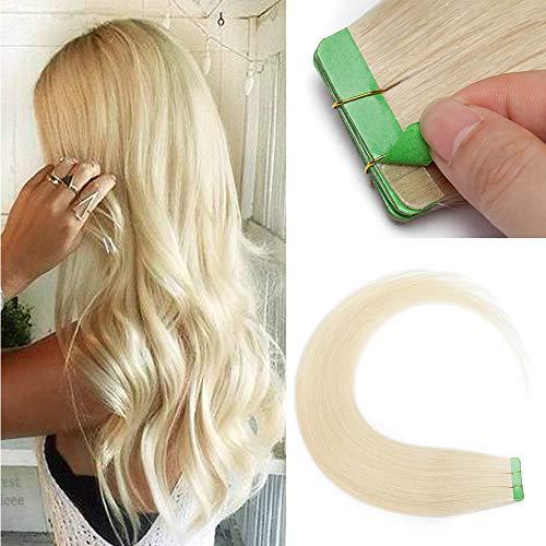 Tape in Extensions Echthaar 60# Platinblond Klebe Haarverlängerung Glatt Weich Haarteil Günstig Remy Haare 10 Stücke 25 Gramm 55cm
