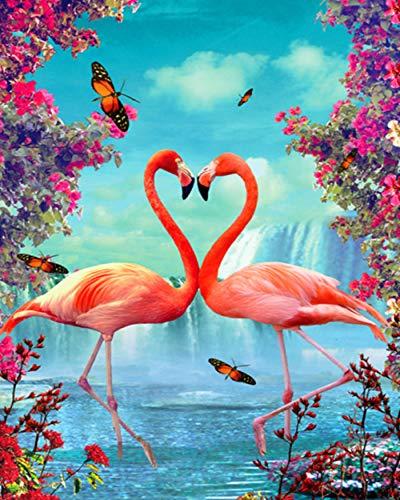WAFJJ Malen nach Zahlen Flamingo 40 x 50cm DIY Leinwand Gemälde für Erwachsene und Kinder, Enthält Acrylfarben und 3 Pinsel (Ohne Rahmen)