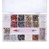 Diamantes de imitación para uñas, 21 rejillas y 10000 piezas de cristal transparente, gemas Bedazzler para manualidades y diseño de uñas, suministros de uñas VOSOVOVO-1000 + 5000 colores
