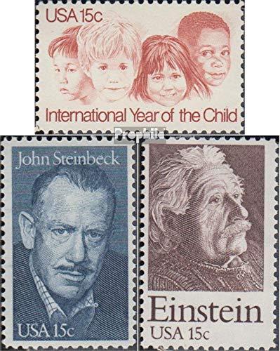 Prophila Collection USA 1373,1374,1375 (kompl.Ausg.) 1979 Kinderjahr, Steinbeck, Einstein (Briefmarken für Sammler)