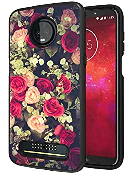 Moto Z3 Case Moto Z3 Play Case ANLI [Fashion Flowers Design] Drop Protection Hybrid Dual Layer Armor Protective Case Cover Compatible with Motorola Moto Z3 for Girls and Women 2018 Released Black