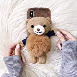 Losin Bear Case Compatible with Apple iPhone Xs Max Case Fashion Luxury Lovely Cute Fuzzy Furry Winter Rabbit Hair Warm Plushball 3D Bear Toy Doll Hard PC Back case