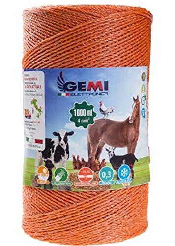 Gemi Elettronica Hilo Conductor Redondo para Pastor eléctrico Cerca eléctrica 1000 MT 4 mm² Valla eléctrica Valla electrificada para animales jabalí vacas caballos perros cerdos gallinas zorros