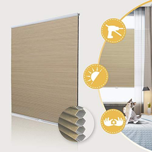 Deswell Verdunklungsplissee ohne Bohren waben plissee klemmfix für Fenster & Tür, Sonnen-, Sicht- & Schallschutz Weiß-Beige 120x130cm