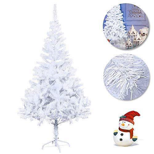 Froadp 210cm Artificial PVC Blanco Árbol de Navidad Abeto Árbol Pino Aguja (PVC Blanco, 210cm)