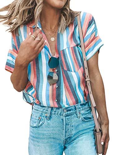 Modasua Damen Bluse Kurzarm Hemd Blusenshirt gestreiftes Hemd V-Ausschnitt Hemd Casual Oberteile Tops Boyfriend Tunika T-Shirt 1-Himmelblau XL