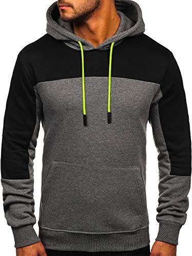BOLF Herren Kapuzenpullover Hoodie Pullover Sweatshirt mit Kapuze Freizeit Street Gym Fitness Jogging Sport Style J.Style KS2168 Dunkelgrau L (1A1)