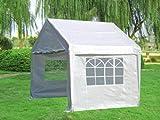 DEGAMO Profi Pavillon/Zelt Palma, 3x3 Meter in PVC-Qualität, Planen Weiss mit Fenstern