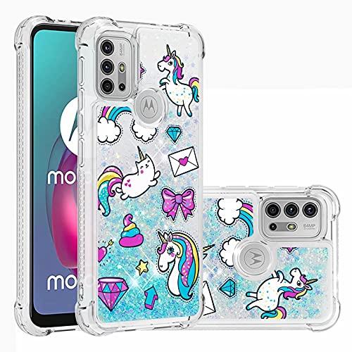Ttimao Compatible con Funda Motorola Moto G30/G10 Flotante Glitter Brillante Liquid Quicksand Case Cristal Suave Silicona TPU Cuatro Esquinas Anti-Caída Cáscara-Caballo Mensajero