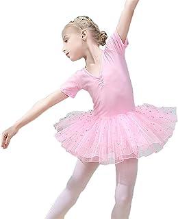 Abiti da Bambina per Abbigliamento Sportivo Ragazze Bambini Pizzo Floreale Manica Corta in Morbido Cotone Danza Classica Abito da Ginnastica Body con Volant Tutu Gonna Danza Ballerina Costumi Bambine e ragazze Abbigliamento sportivo