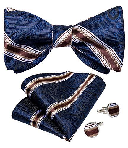 DiBanGu - Pajarita de seda para hombre, diseño de rayas, diseño de lazo, azul (17 Blue), Talla única