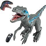 ラジコン恐竜のおもちゃ- 2021年に最も人気のあるおもちゃ-ジュラ紀の恐竜の世界-先史時代の生き物ヴェロキラプトル-子供男の子と女の子の誕生日プレゼント-ウォーキング-スプレー-音-電子シミュレーション動物モデル (無料の動物の手の手袋)