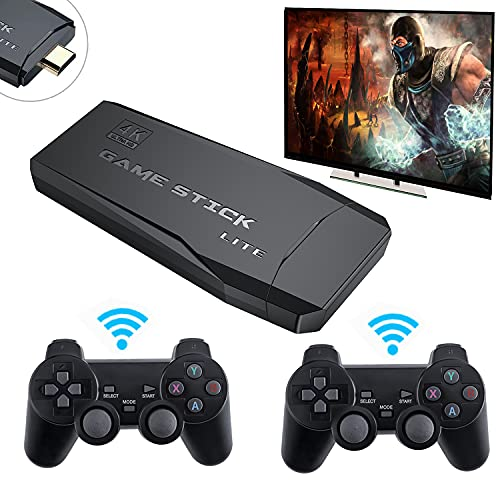 Consola retro M8, 32GB Consola de juegos USB Wireless Game Stick con 10000 Juegos + 2 Controladores, Whatsko Consola inalámbrica Game Stick Salida de TV HDMI 4K