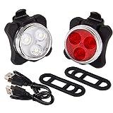 Lot de phares de vélo rechargeables par USB Polam Foto, phare avant super lumineux et lumière arrière pour vélo, 120 lumens avec batterie au lithium 650 mAh,(2 câbles USB et 2 sangles incluses).