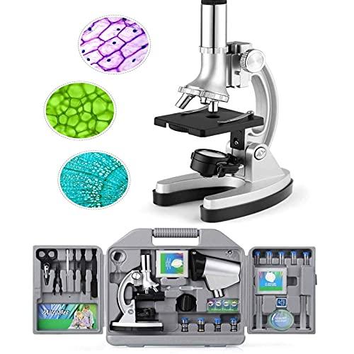 Microscopio Bambini Ingrandimento di 300X-600X-1200X, Braccio in Metallo Regolabile e Luci a LED, con Micro Proiettore, 70 pezzi + Set di Accessori per l'Istruzione per Principianti per Bambini