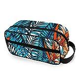 QMIN - Neceser portátil con diseño de hojas tropicales hawaianas, bolsa de viaje multifunción, bolsa de maquillaje, bolsa de almacenamiento para niños, niñas, mujeres, hombres