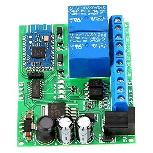 HEQIE-YONGP Módulo de relevo- 2 Relé Bluetooth Wireless Channel módulo de retardo Interruptor de Control Remoto, relés