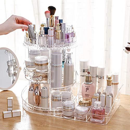 XMZFQ Organisateur De Maquillage, Rotation De 360 Degrés Cristal Réglable Bijoux Cosmétiques Parfums Présentoir Boîte, Grande Capacité Maquillage Stockage pour Commode, Chambre, Salle De Bains