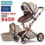 Baby Stroller 2020, Hot Mom New Style 3 in 1 Baby Carriage with Bassinet Combo (Grid)