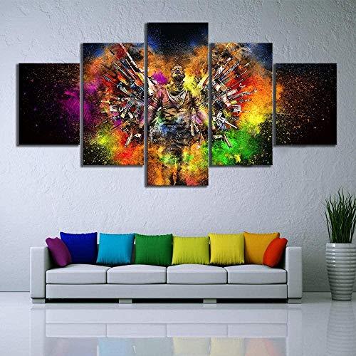 Lienzo Arte de la pared 5 piezas Impresiones en lienzo no tejido Imagen Counter Striker Armas ofensivas globales Obra de arte enmarcada Cuadro de pintura Foto Decoración del hogar 150X80Cm
