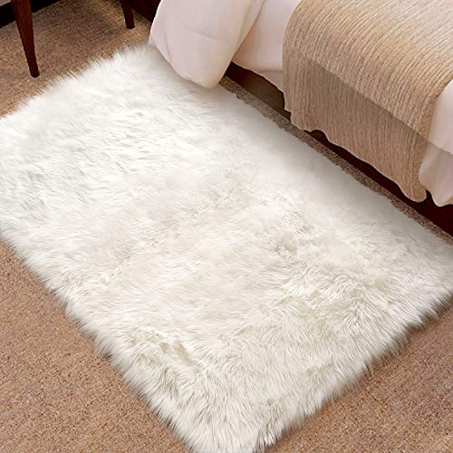 KMAT Fluffy Rug Faux Sheepskin Fur Rug for Room Decor,2ft x 3ft Ultra Soft Area Rug Carpet for Bedroom,Living Room,Nursery,Changing Room,Vanity Chair/Couch/Sofa Cover,Machine Washable(White)