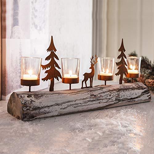 Festnight Kerstmis, kandelaar, glas, metaal, romantische boom, elandvorm, kaarsenhouder, ornament, huistuin, erf, bruiloftsdecoratie