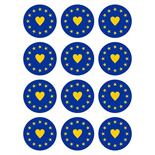 Generisch 12 Stück Aufkleber EU Herz Flagge Rund 4 cm | I Love Europa | Europäische Union | wetterfest & UV Schutz | Set