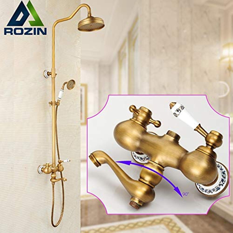 European Style 8  Brass Rain Shower Faucet Set Single Handle Swivel Tub Spout + Hand Shower Bathroom Complete Shower Mixer Taps