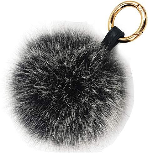 Damen Fuchspelz Pom Pom Ball Echtfell Fell Pelz Bommel Schlüsselanhänger Taschenanhänger Schlüssel- Taschen- Fellanhänger Pelz-Anhänger für Handtaschen, Rückspiegel im Auto (schwarz mit weißer Spitze)