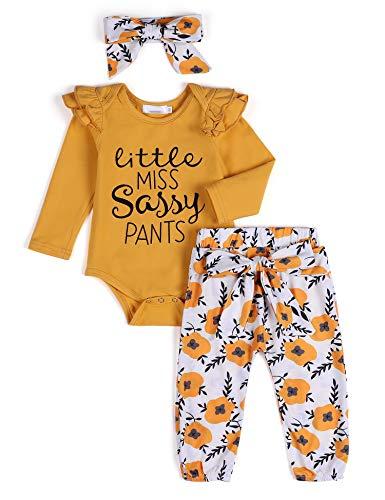 Arshiner - Set di vestiti per bambine a maniche lunghe, motivo floreale, 3 pezzi, per neonati e bambini da 0 a 24 mesi giallo. 0-3 Mesi