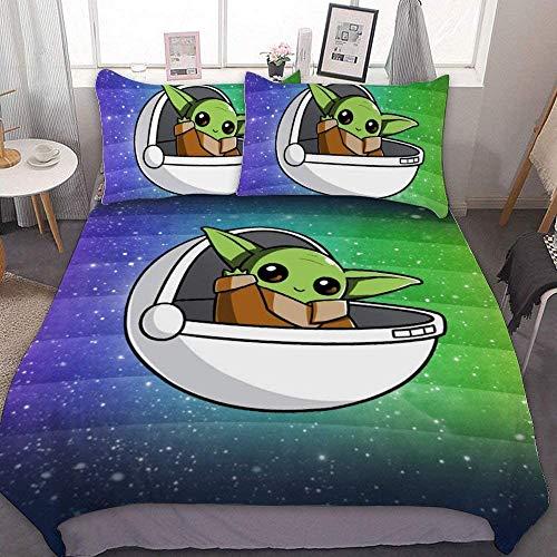 Star Wars The Kind Baby Yoda Funda nórdica de microfibra suave y esponjosa 2 fundas de almohada ropa de cama infantil regalo juvenil (04, 220 x 240 cm (80 x 80 cm)
