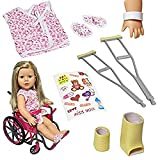 The New York Doll Collection Wheelchair Set with Bonus Accessories for 18 Inch Dolls Like American Girl crutches Apr, 2021