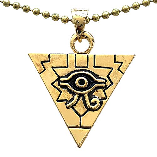 Yugioh Yu-Gi-Oh! The Millenium Puzzle Illuminati Pyramid Horus Ra Evil All seeing Eye Men's Pendant Necklace Pewter Gold plated Pendant Good Luck Money Wealth Charm Protection Amulet Brass ball chain