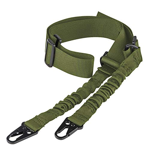 CVLIFE 2 Point Rifle Sling with Metal Hook Adjustable Traditional Gun Sling Army Green