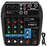 Highdefinition Headphone Output Port 4 Channel Music Console, With a Sound Card 4 Channels Audio Mixer, for Home Music Production Music Lovers