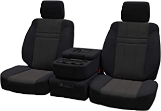 Front Seats: ShearComfort Custom Neoprene-Style Seat Covers for Ford F250 (2017-2019) in Black w/Charcoal for 40/20/40 w/Folddown Opening Console and 3 Adjustable Headrests (Super Cab or Super