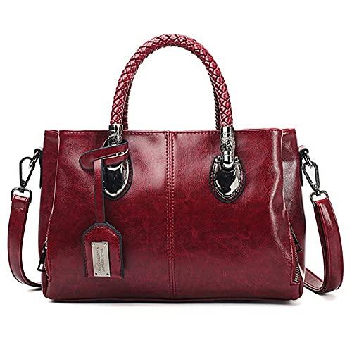 Bolso de hombro vintage cera de aceite de cuero bolsos de lujo Bolsos de mujer Bolsos de mano de diseñador para mujer bolsa de mujer (color: rojo vino)
