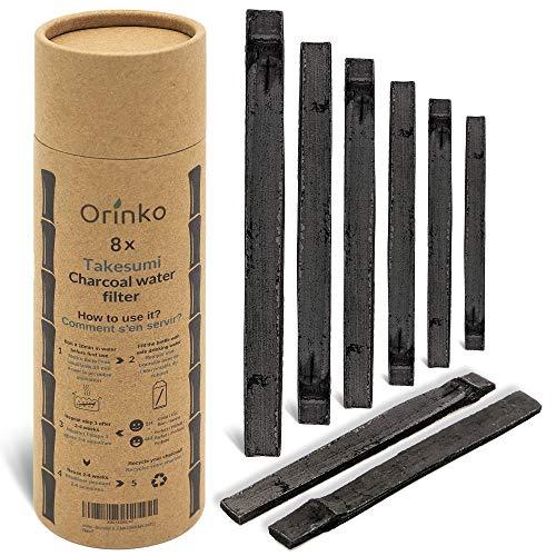 orinko Binchotan Bio 8X | Charbon Actif Takesumi de Bambou pour Purification d'eau + E-Book | Passez-Vous des Eaux en Bouteille avec Notre Charbon Actif [𝗦𝗮𝘁𝗶𝘀𝗳𝗮𝗶𝘁 𝗼𝘂 𝗥𝗲𝗺𝗯𝗼𝘂𝗿𝘀𝗲]