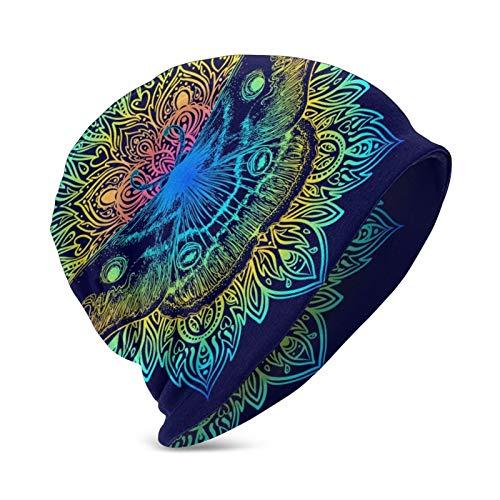 N\ A Beautiful Mandala Moth Vintage Tattoo Indigo Beanie Winter Hats for Kids Skull Cap Knit Hip-Hop Hat Girls Boys