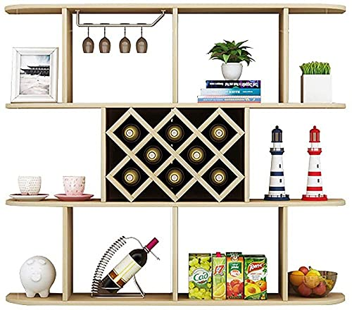 Mueble de pared vino Mueble de la pared para estantes de la taza de la copa de la sala estar del restaurante Estante de vino estar con 1 bastidores de copa 140x23x97 cm 8 Grid 3-capa-LightwalnutColor