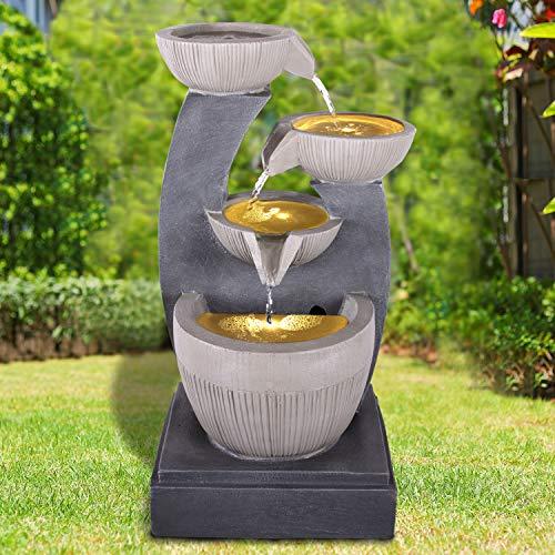 profi-pumpe.de Gartenbrunnen Brunnen Zierbrunnen Zimmerbrunnen Springbrunnen Brunnen 230V Wasserfall Wasserspiel für Garten, Gartenteich, Terrasse, Balkon Sehr Dekorativ (FENG-Shui mit LED-Licht)