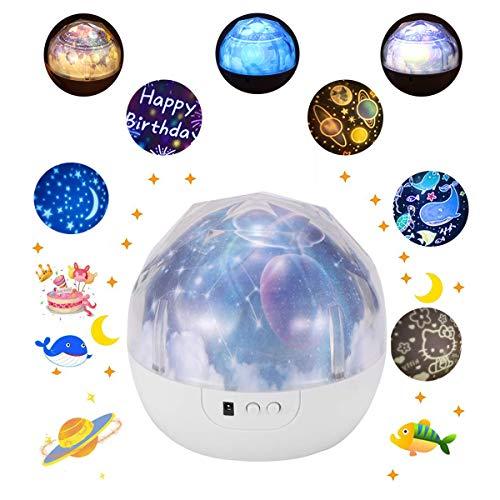 XYvee Himmel Projektor Lampe Kinder Baby, Sterne Universe Ocean Geburtstag Nachtlicht Projektor, 5 Stil Geburtstag Weihnachten Geschenk für Männer Frauen Kinder Kind Schlafzimmer
