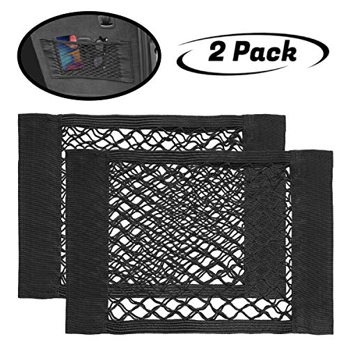 lebogner Car Storage Net Pocket Organizer, 2 Pack Mesh Stick On Cargo Storage Pouch, Bungee Netting Side Wall Sticker, Stick On String Bag For Trunk, Seat Back, Suitcases, Elastic Organizer Net Pocket