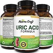 Natures Craft Uric Acid Formula - Uric Acid Detox Cleanse Decrease Acidity - Pure Green Coffee Bean - Chanca Piedra - Vitamin B-6 - Kidney Health Support Supplement 90 Veggie Capsules